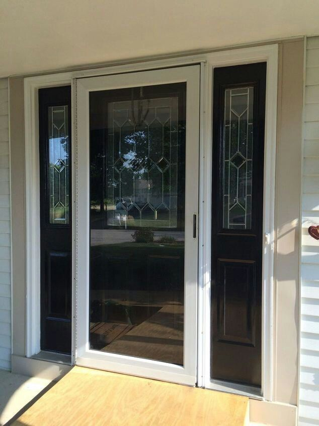 White Storm Door With Black Front