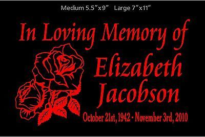 Details about In Loving Memory Of Decal Roses Personalized