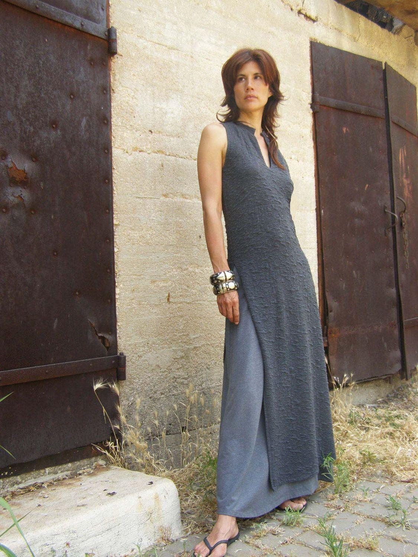 91fe1395bf965 ASIAN maxi dress  TUNIC-Womens sleeveless elegant maxi dress-maxi tunic-Made  to order-Summer womens dress in gray-Bridesmaid dress. via Etsy.
