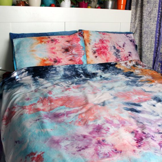 Hand Dyed Ice Tie Dye Duvet Cover And 2 Pillow Cases 100 Egyptian Cotton 400 Thread Count Comforter X2f Duv Tie Dye Duvet Duvet Cover Diy Tie Dye Bedding