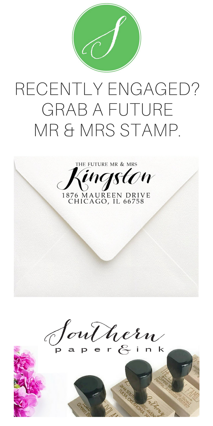 Future Mr u Mrs Stamp  Calligraphy Address Stamp  Engagement Gift