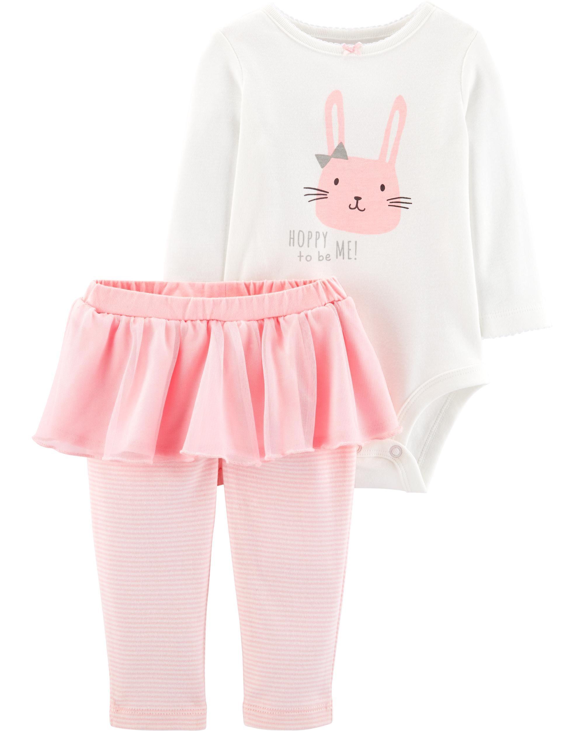 b366ceb3a222 Baby Girl 2-Piece Bunny Bodysuit   Tutu Pant Set