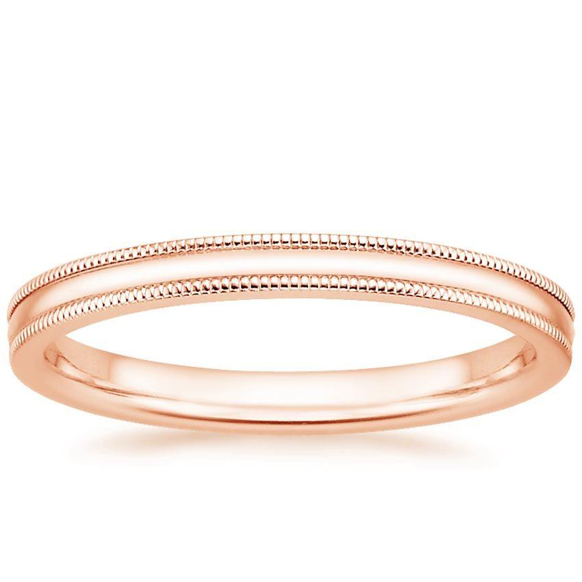 14k Rose Gold 2mm Milgrain Wedding Ring Milgrain Wedding Ring Classic Wedding Rings Wedding Rings Rose Gold