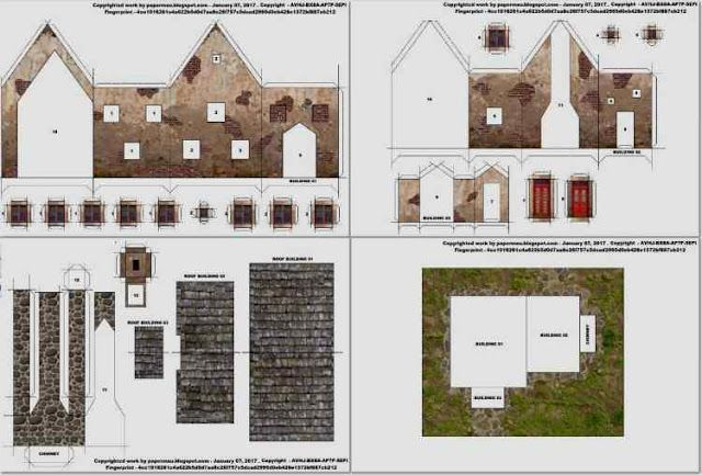 free pdf ww2 european farmhouses model paper card