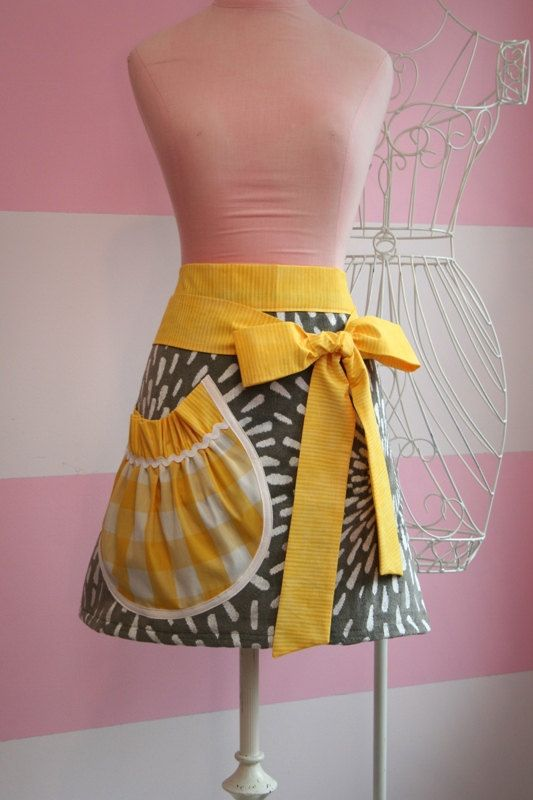 Towel Waist Apron - Yellow and Grey Chevron