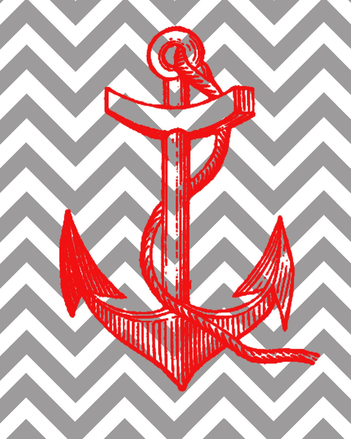 Chevron Print Background With Anchor - Nautical anchor with chevron background 8x10 print