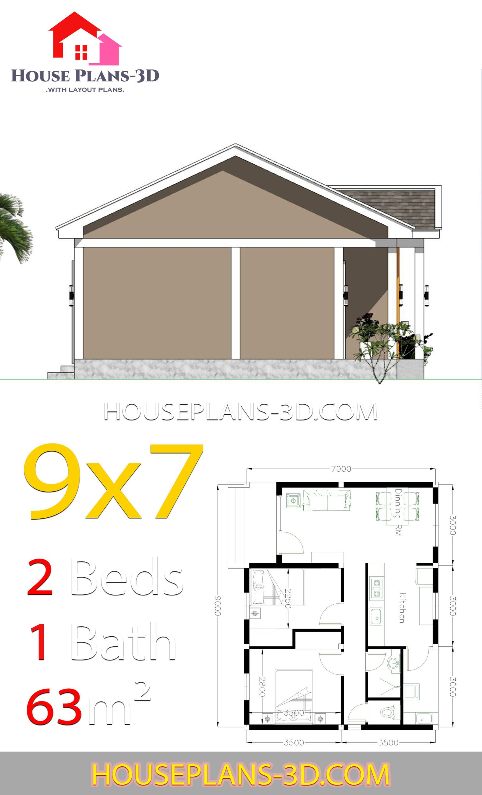 House Plans 9x7 with 2 Bedrooms Gable Roof in 2020   House ...