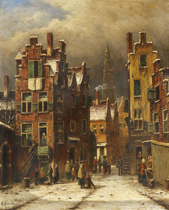 Oene Romkes de Jongh - Winters stadsgezicht (3)