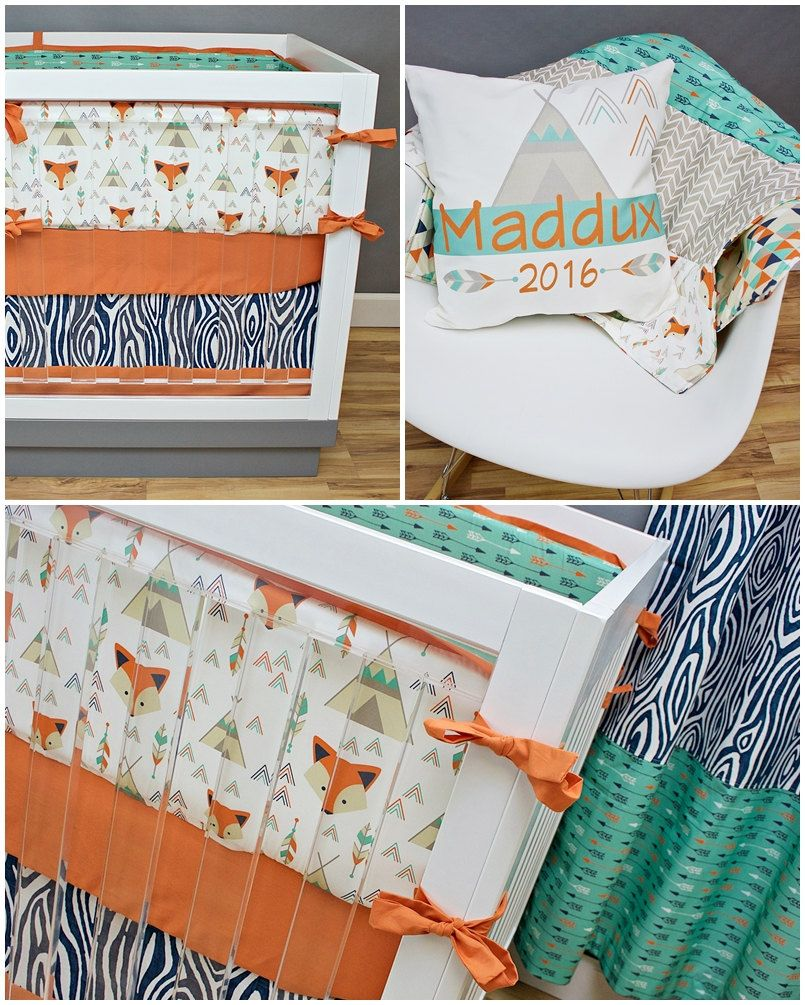 crib bedding woodland fox , baby bedding, arrows fox teepee tribal