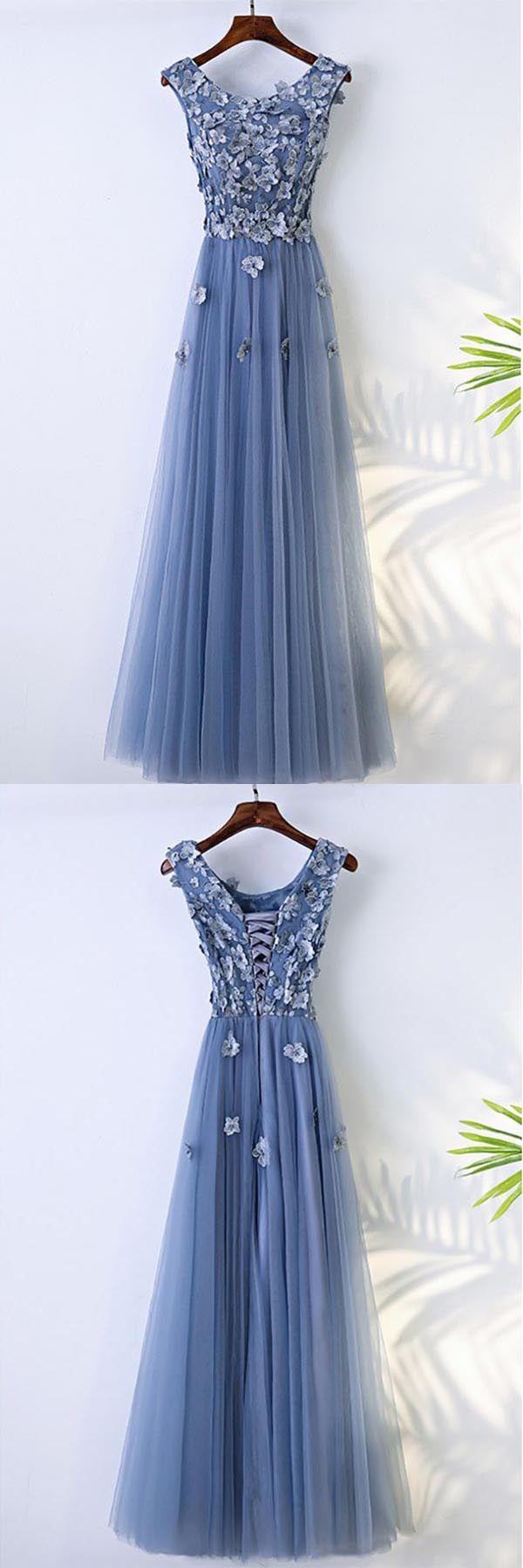 Aline blue flowy prom dress long with flower petals pg dresses