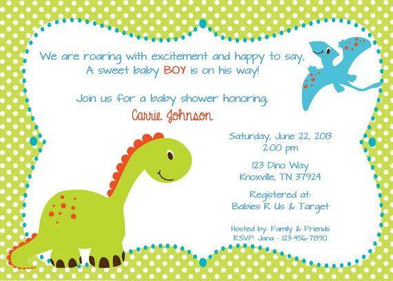 Dinosaur Friends Printable Baby Shower Invitation Editable PDF