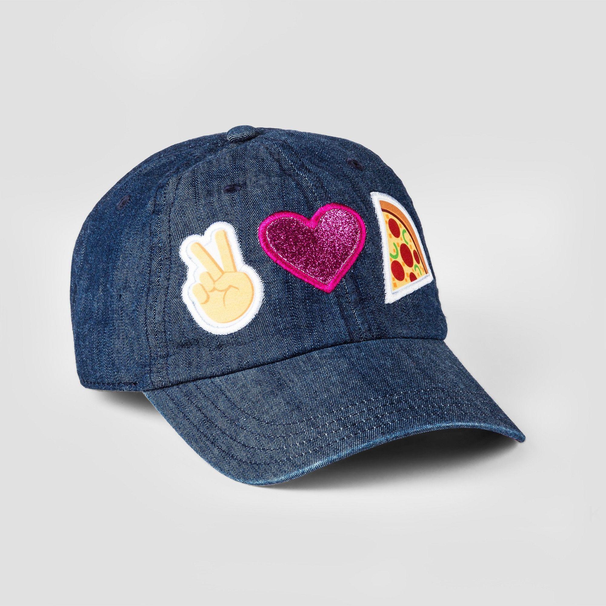 Girls Emoji Peace Love Pizza Baseball Hat Blue Baseball Hats Hats Emoji