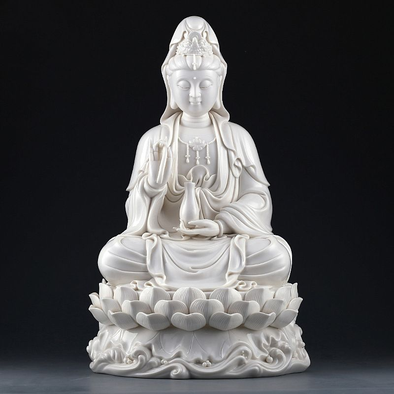 Aliexpress Com Buy The Statue Of The Goddess Of Mercy Ceramic Guanyin Sculpture Sitting On Lotus White Porcelain Buddha Crafts Sale A Statue Buddha Sculpture