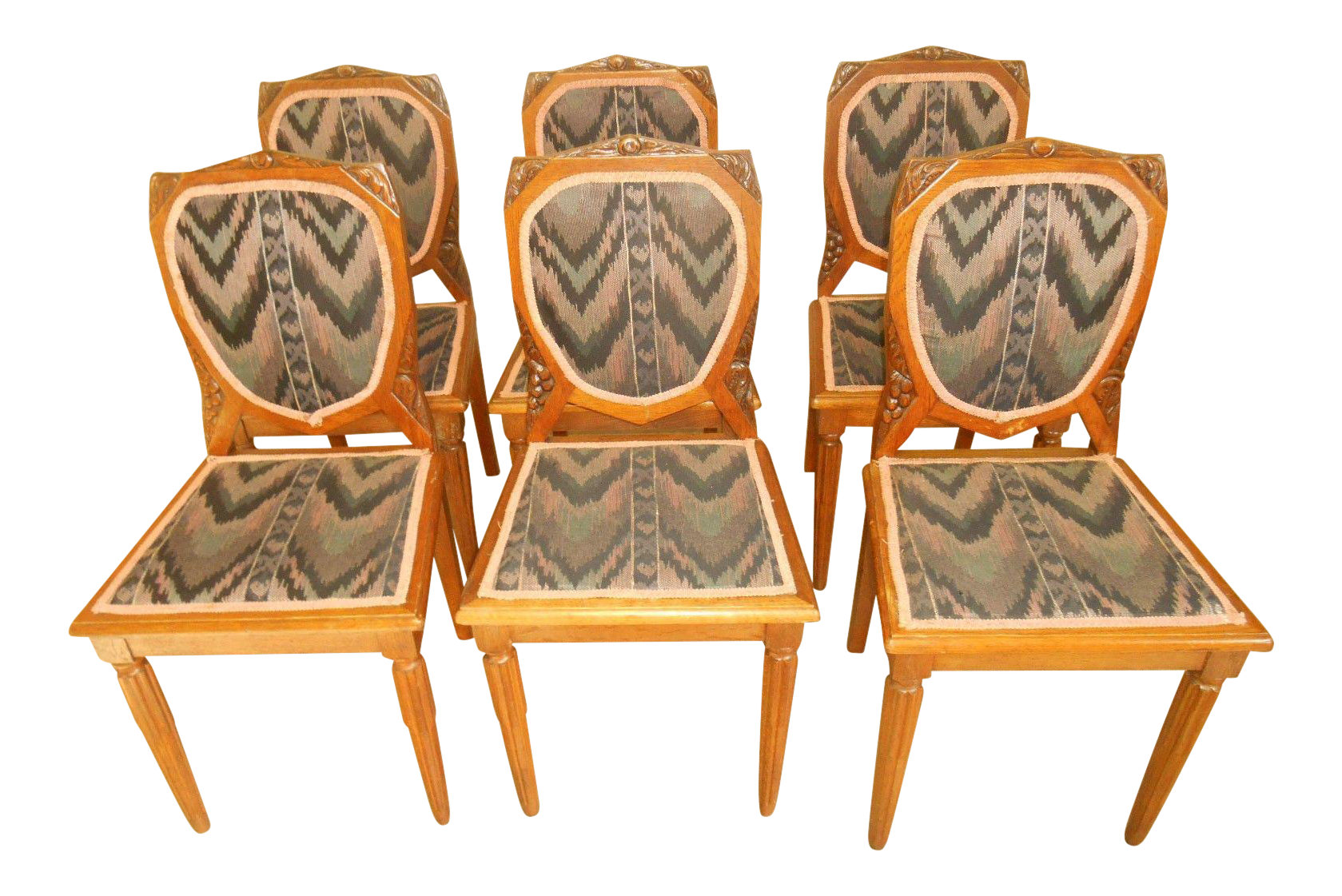 Hand-Carved Art Deco Tiger Oak Dining Chairs - Set of 6 | Oak ...