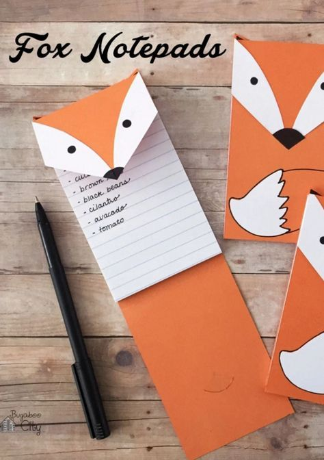 DIY+Free+Printable+Fox+Notepad+from+Bugaboo+City Paper Cutting - printable notepad paper