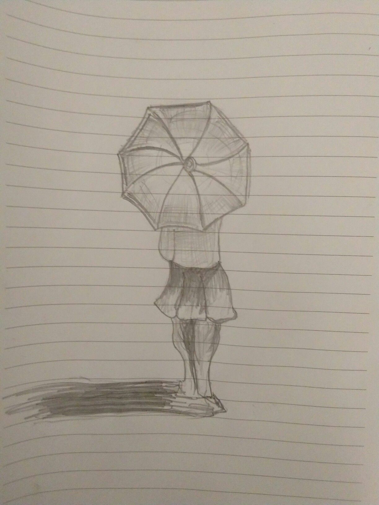 A Girl With Umbrella Pencil Drawing