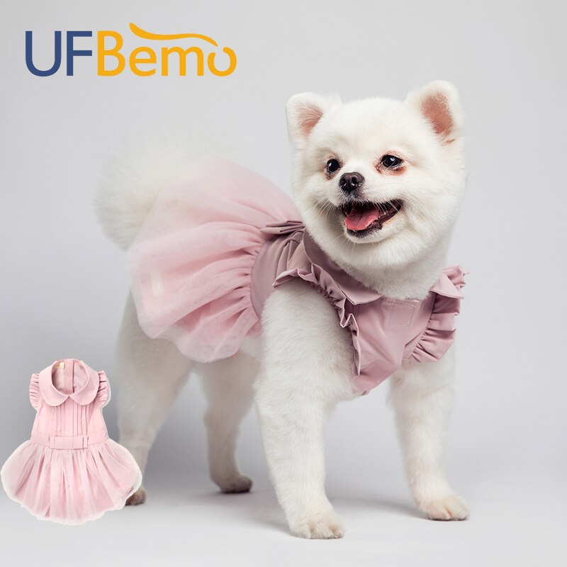 Fitwarm Embroidery Dog Dresses Pet Clothes Prom Dress Cat Party Gown Pink Large