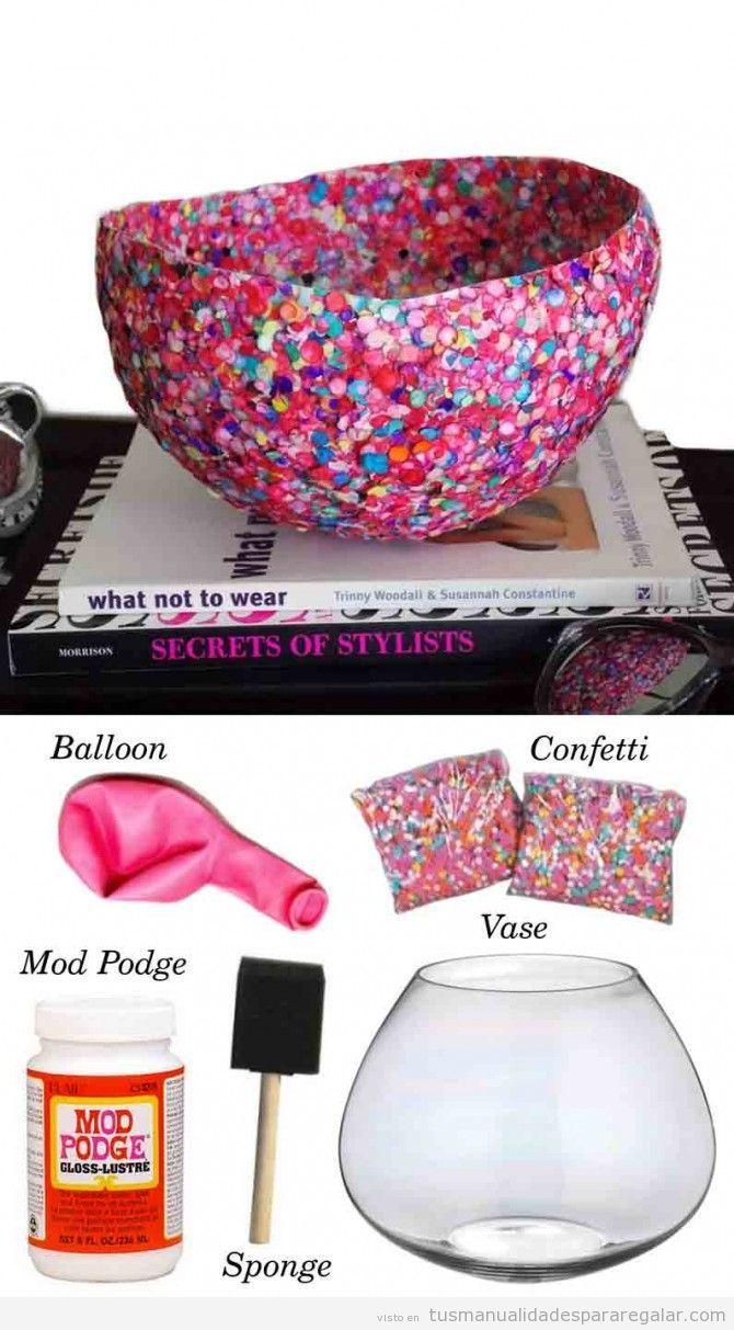 Tutorial jarr n decorado con confetti manualidades para regalar manualidades manualidades - Manualidades y bricolaje ...