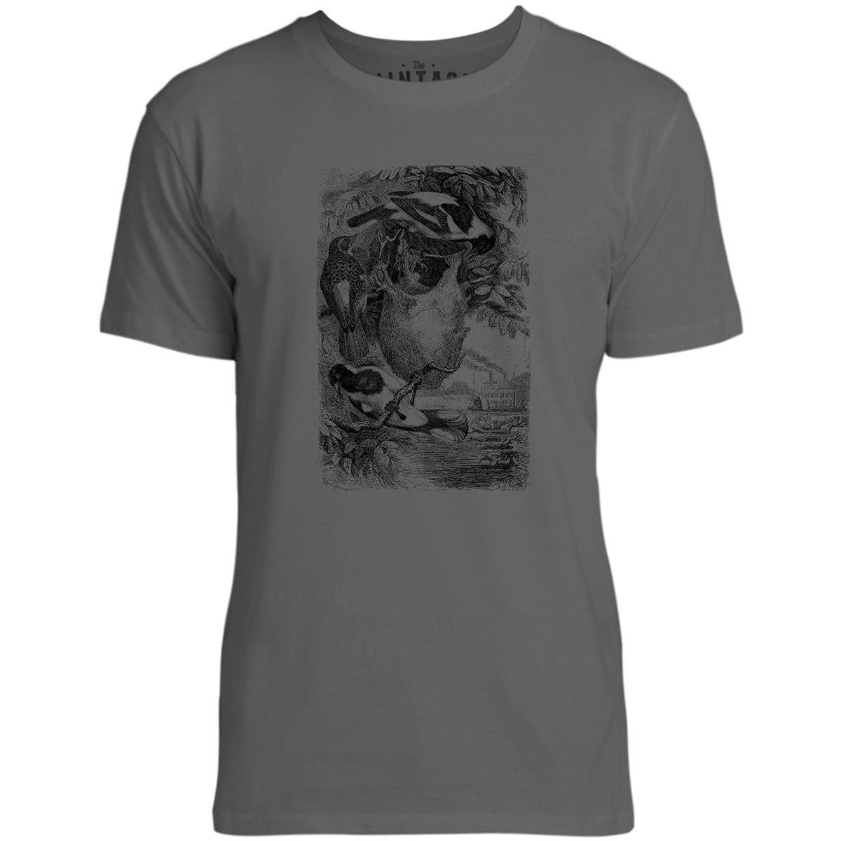 Mintage Weaver Birds Mens Fine Jersey T-Shirt (Concrete)
