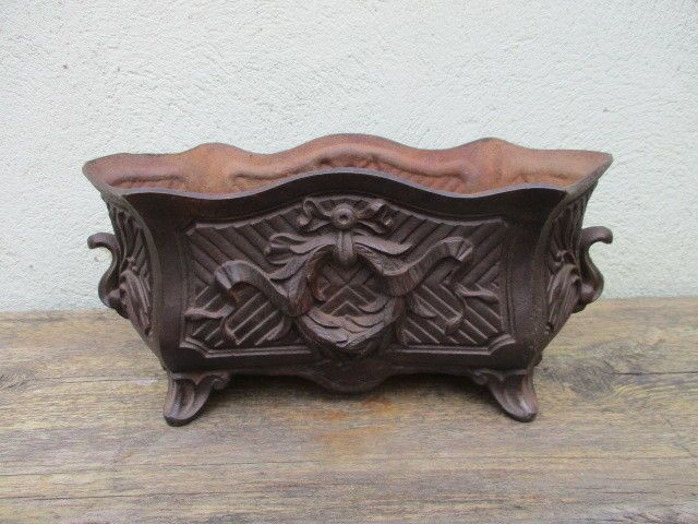 Antique Cast Iron Garden Trough Tub Planter Jardiniere Plant Pot French Old  #French