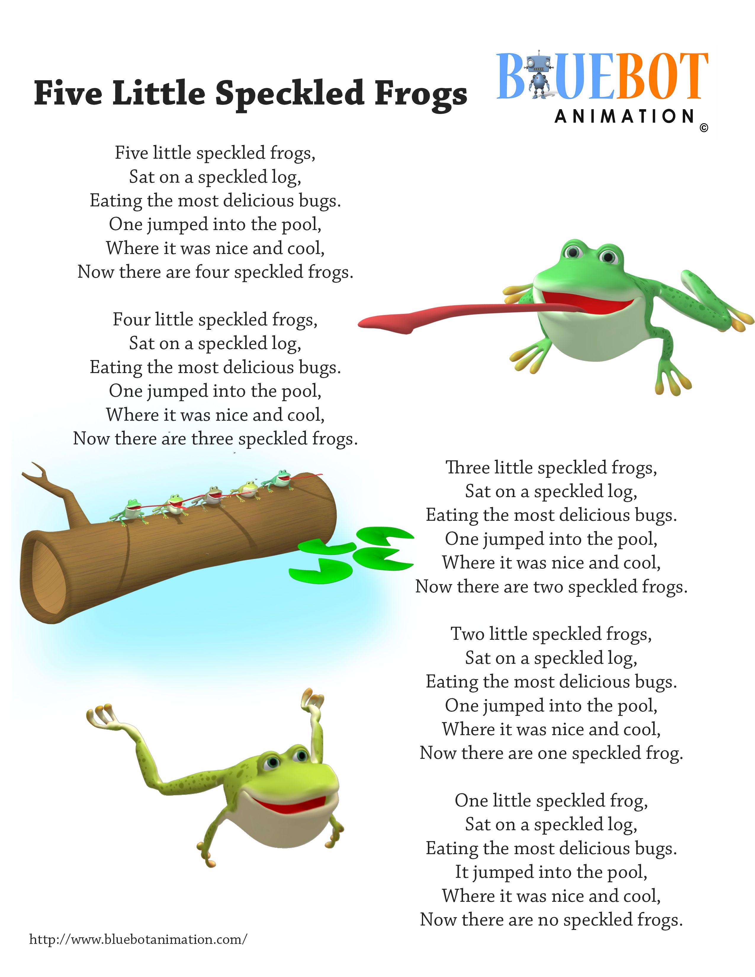 5 Little Speckled Frog Nursery Rhyme Lyrics Free Printable