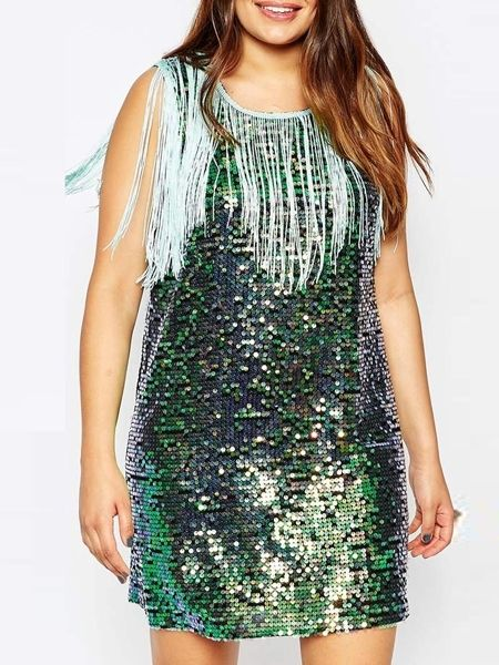 Attractive Round Neck Paillette Tassel Plus-size-bodycon-dress