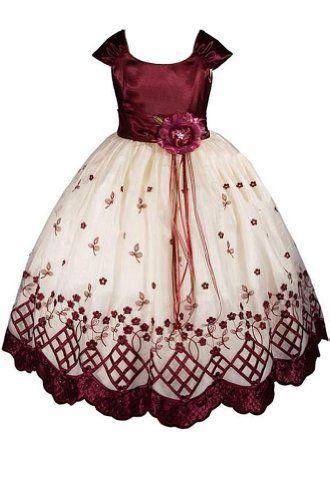 9fa4c560acb AMJ Dresses Inc Big Girls' Burgundy Flower Holiday Dress E1155 Sz 10 AMJ  Dresses Inc