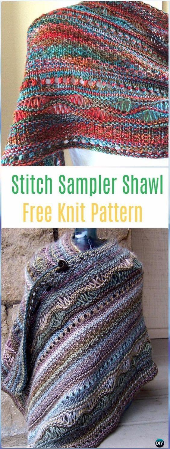 Knit wrap shawl patterns and tutorials shawl patterns free knit stitch sampler shawl free pattern knit scarf wrap shawl patterns bankloansurffo Choice Image