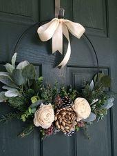 Photo of Couronne de Noel, couronne pour Noel, décor de Noel, couronne de cerceau, couro…