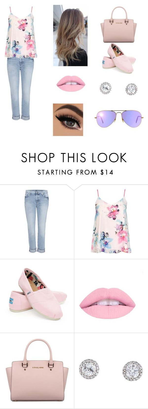 """""""Wilmely"""" by emellyferreira ❤ liked on Polyvore featuring 7 For All Mankind, Dorothy Perkins, TOMS, Michael Kors and Ray-Ban"""