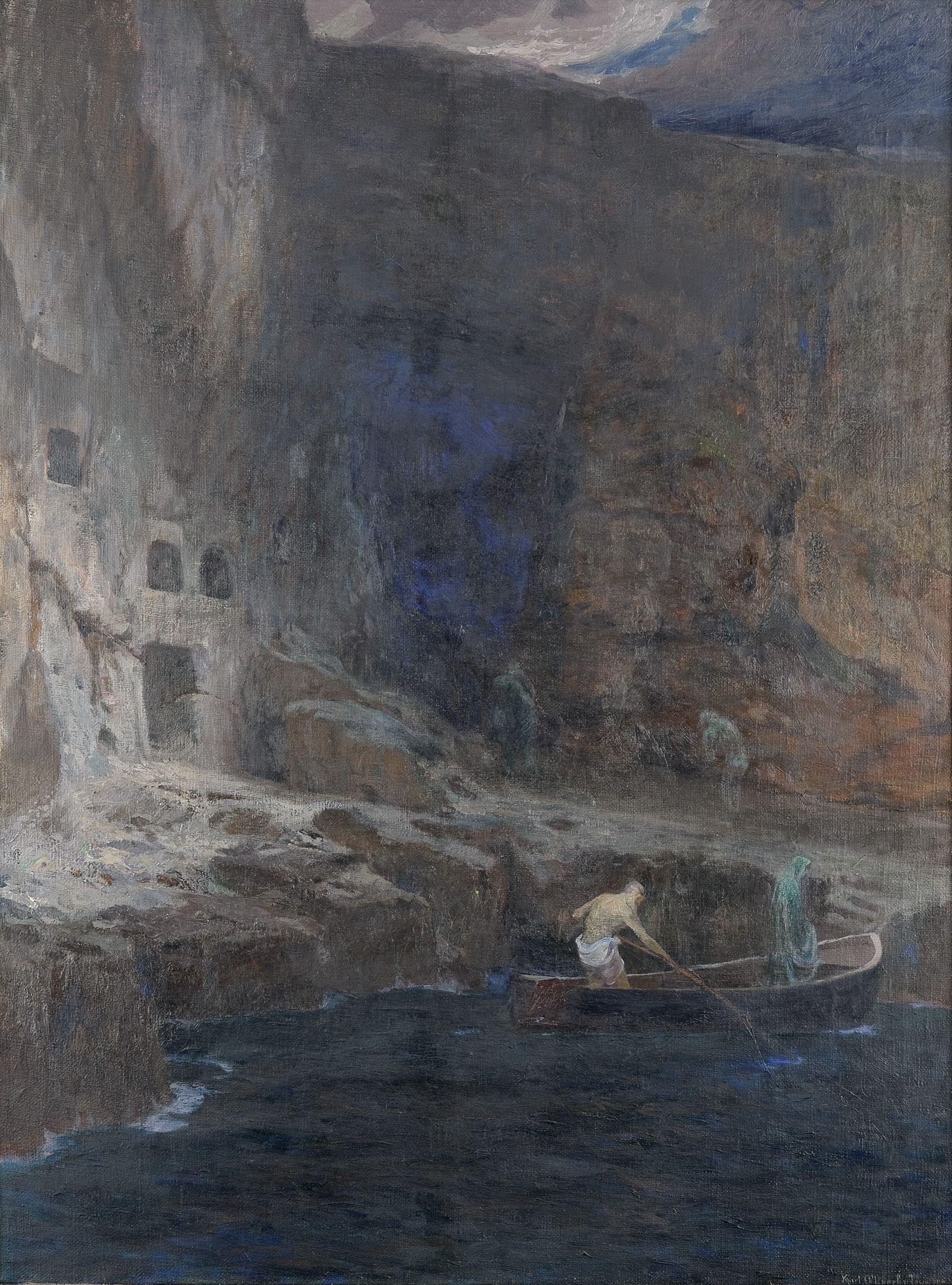 dolf Hirémy-Hirschl (1860 Tamesvár, Rumänien – 1933 Rom), Die Seelen am Acheron, 1898, Öl/Leinwand, 215 x 3