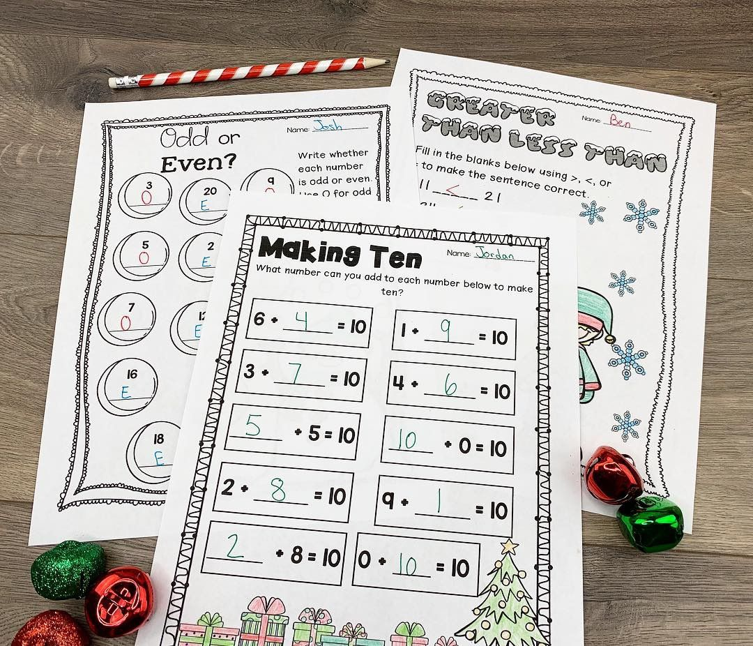 Christmas Reading Writing And Math Activities Grades 1 2