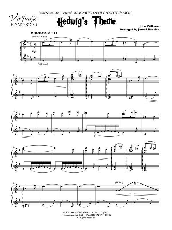 This is an image of Adaptable Harry Potter Theme Song Sheet Music for Piano Free Printable