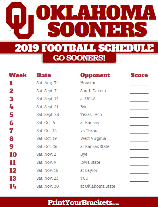 Ou 2019 Football Schedule 2019 Oklahoma Sooners Football Schedule | Printable College