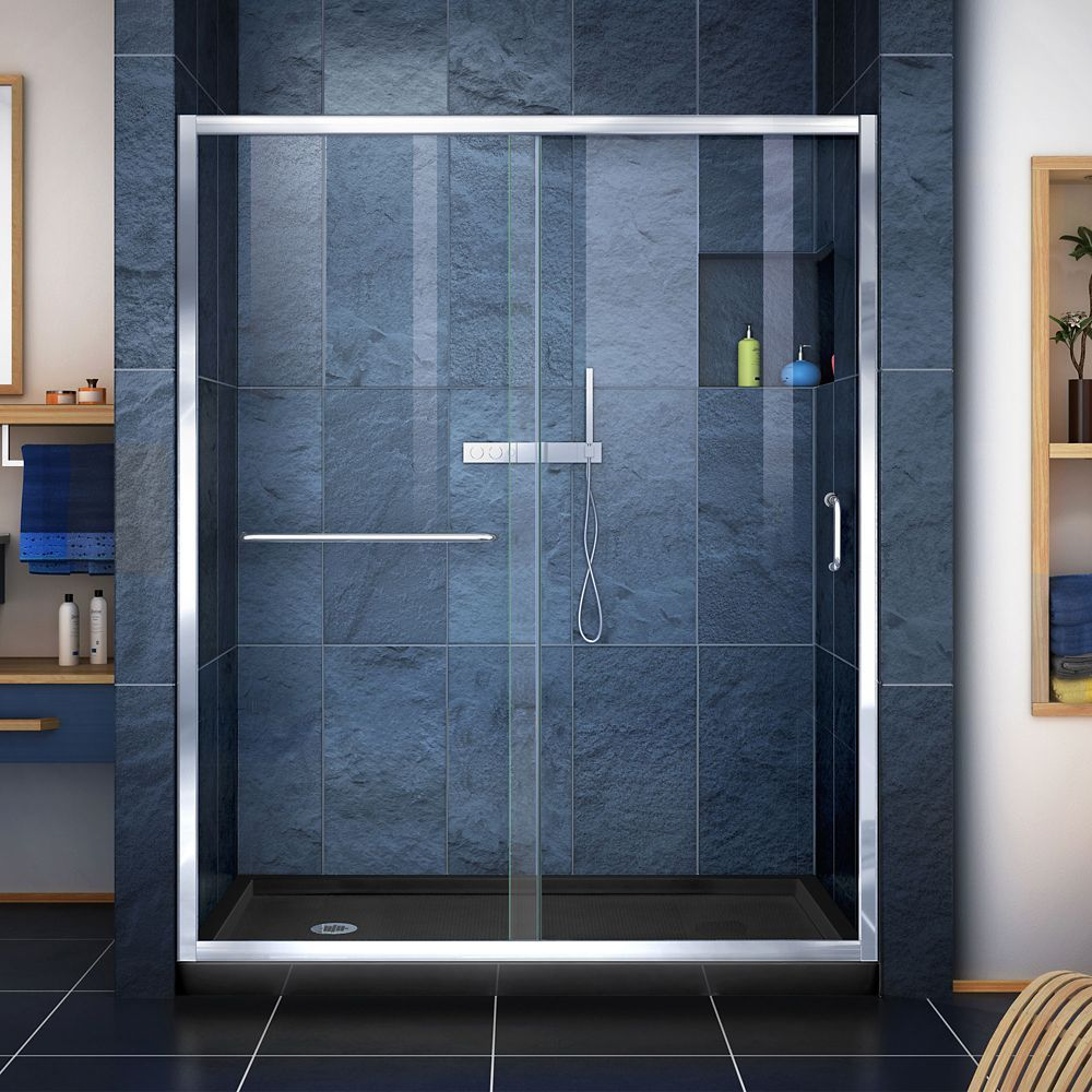 Infinity Z 30 Inch D X 60 Inch W X 74 3 4 Inch H Shower Door In Chrome And Left Drain Black Base Clear Shower Door Shower Doors Frameless Sliding Shower Doors