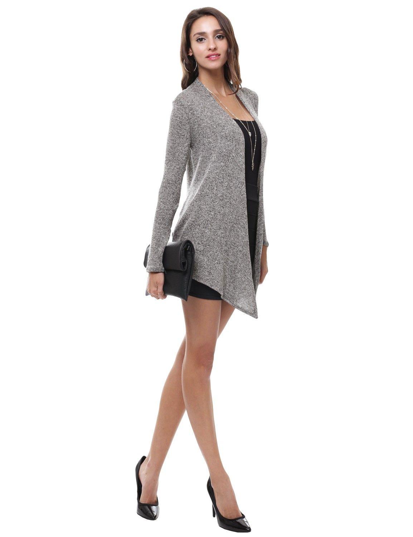 Gray Heather Peppered Knit Draped Long Open Cardigan #11foxy
