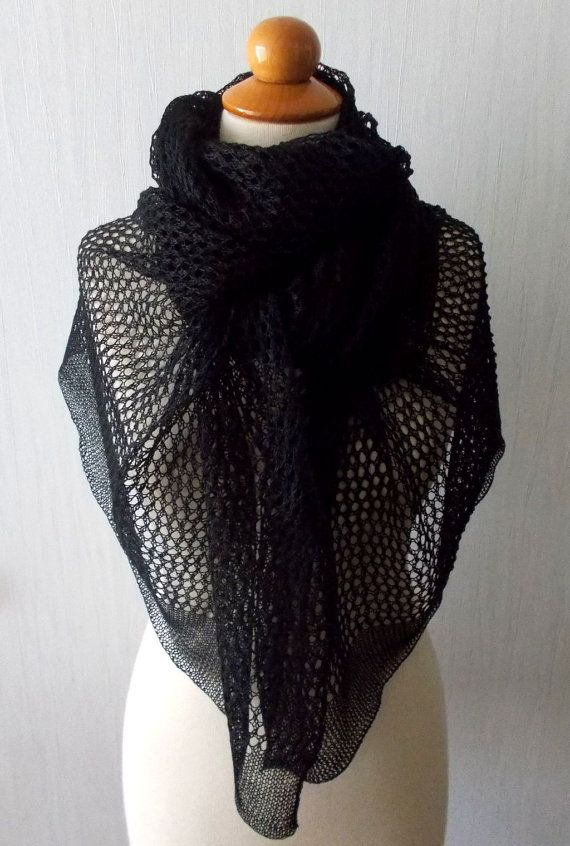 Photo of Lace Shawl Black Linen Scarf Knitted Natural Summer Flax Wrap
