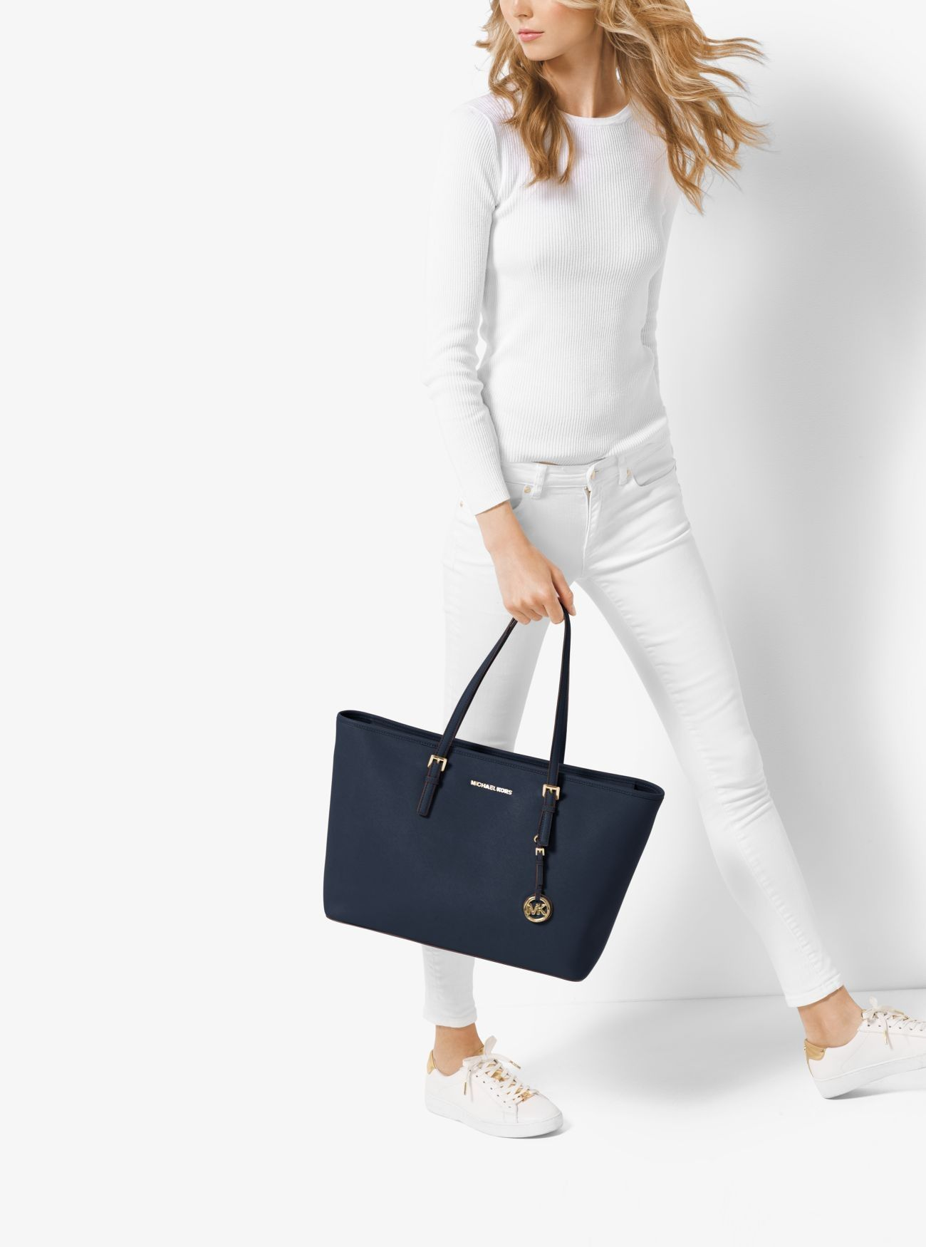 66e5718eb07f Outlet Michael Kors Admiral Jet Set Travel Medium Saffiano Leather Top-Zip  Tote Sale Online