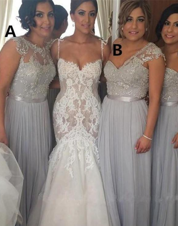 Silver Chiffon Long Bridesmaid Dresses Mixed Styles Plus Size