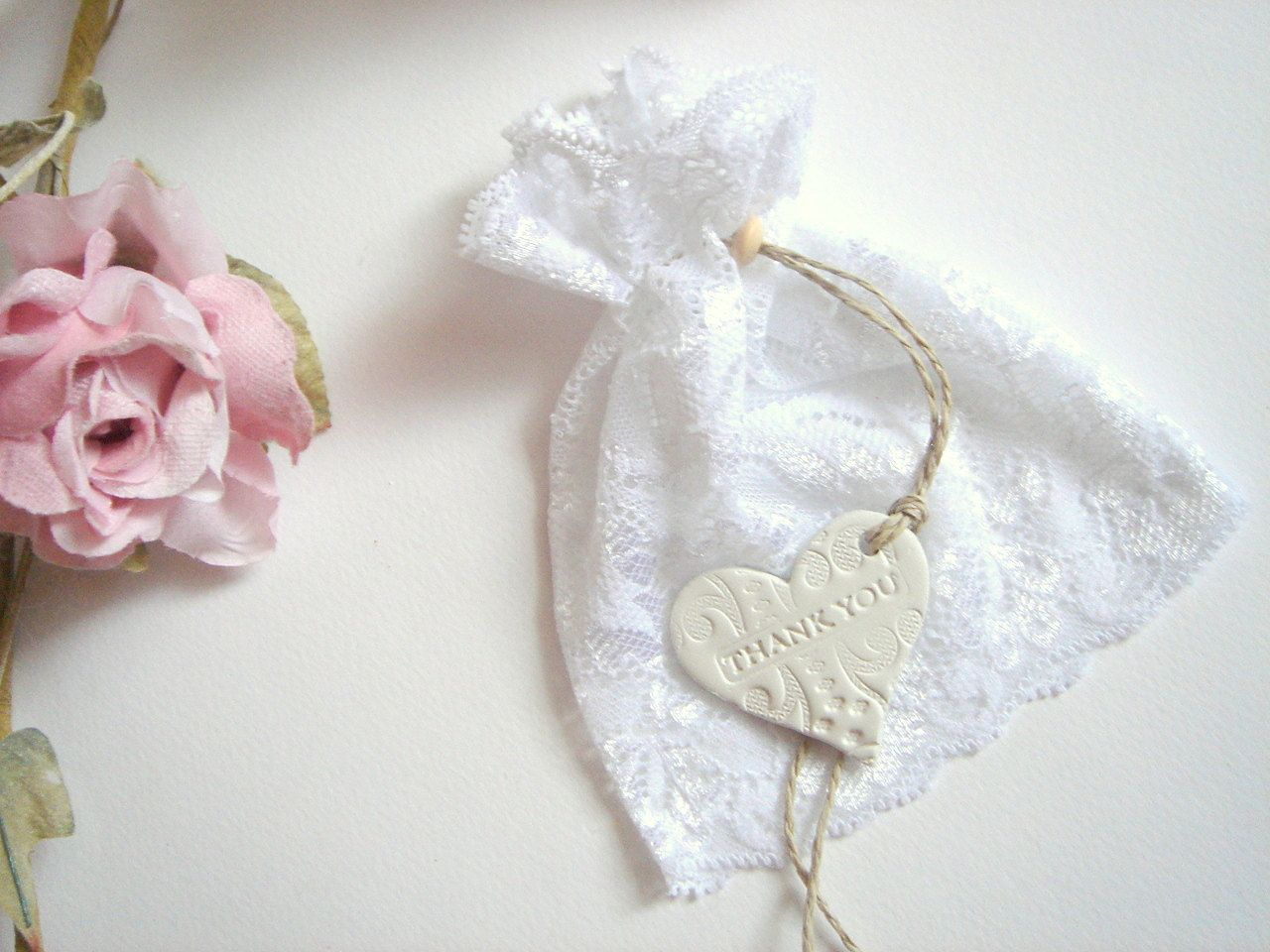 50 Wedding Favor Lace Bags With Clay Tags Thank You Shower Candy