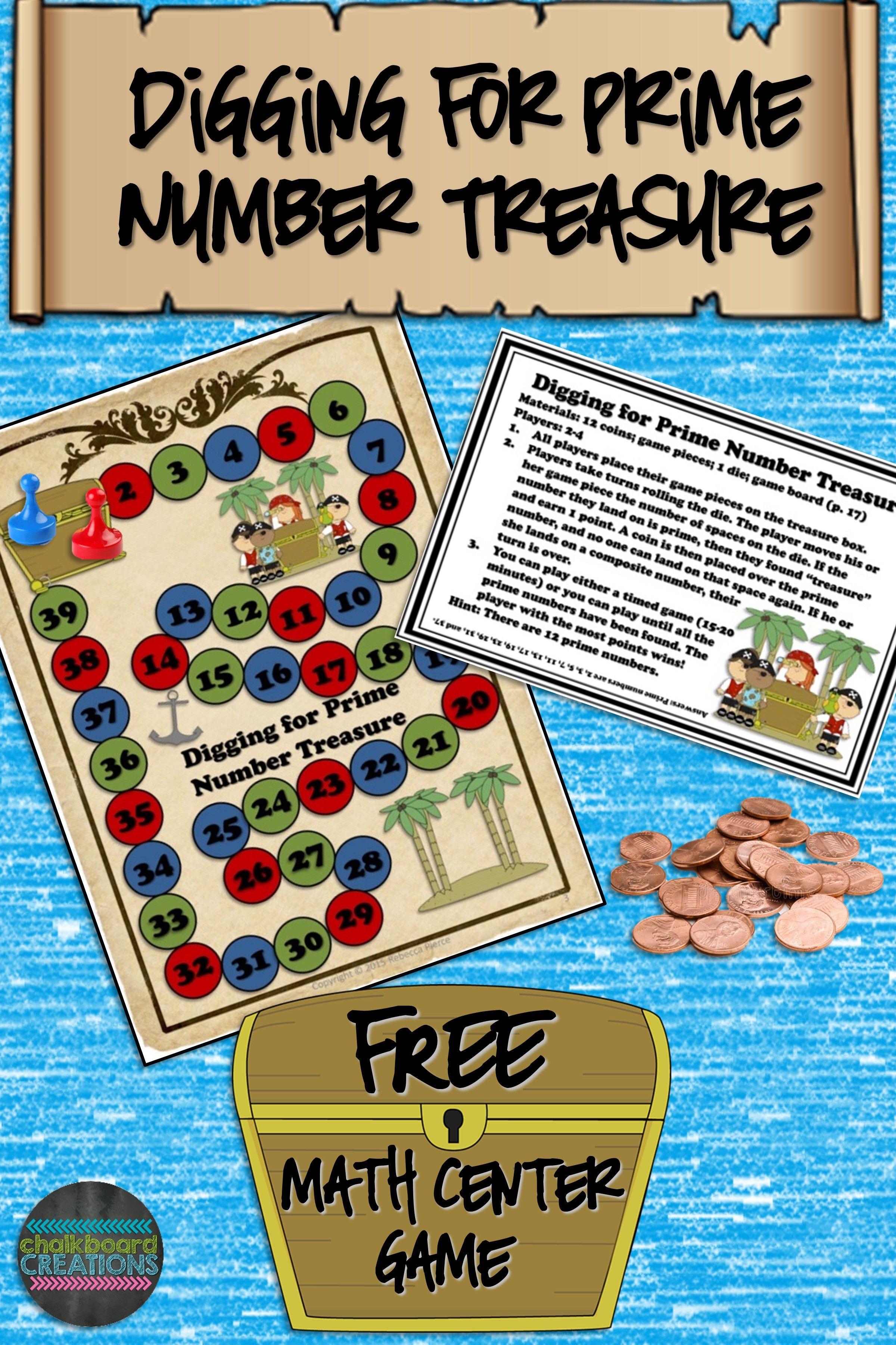 Free Math Center Game Digging For Prime Number Treasure