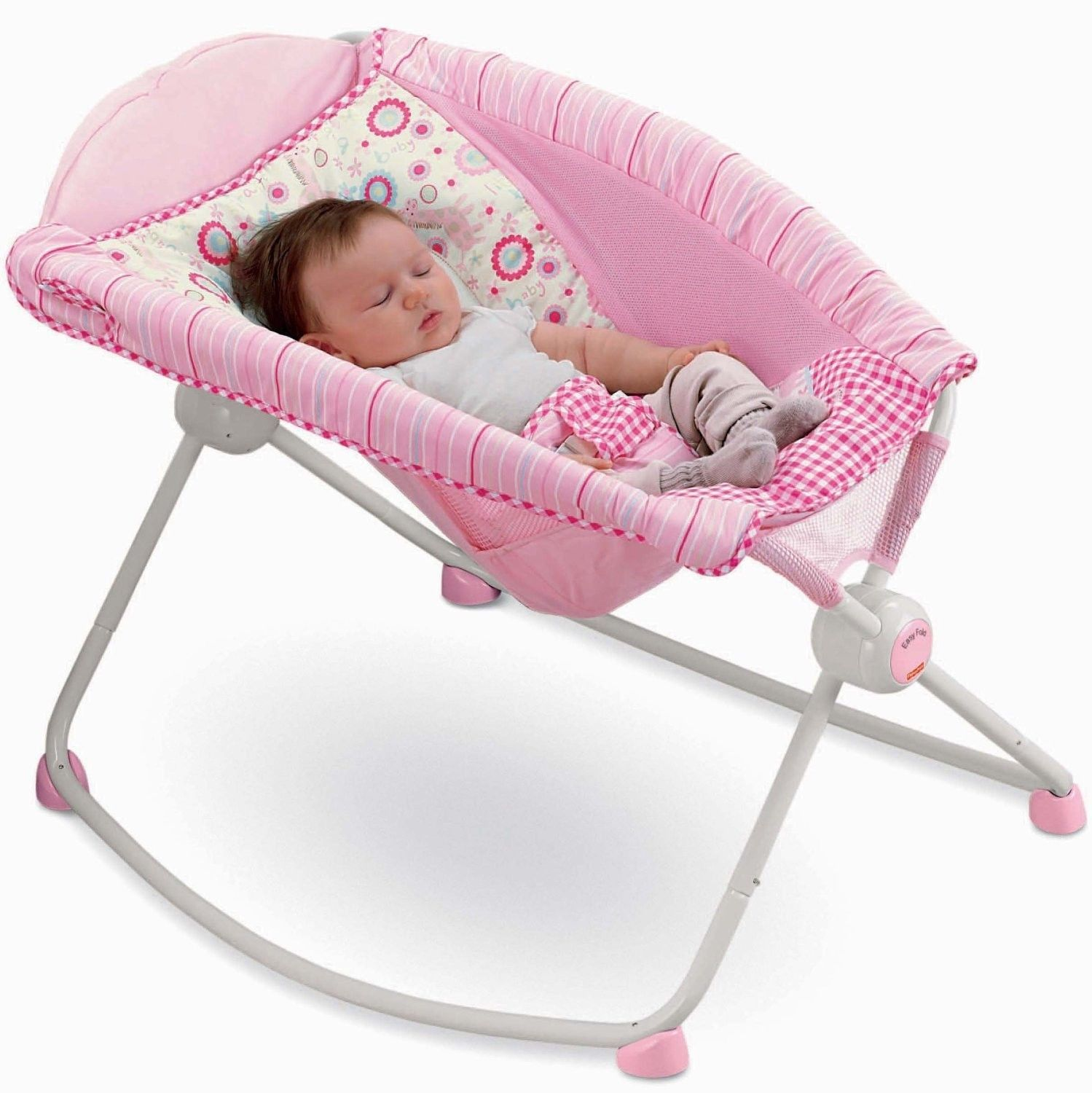 Baby Sleeper Chair High Back Oak Dining Chairs Fisher Price Newborn Girl Pink Rock Play Portable