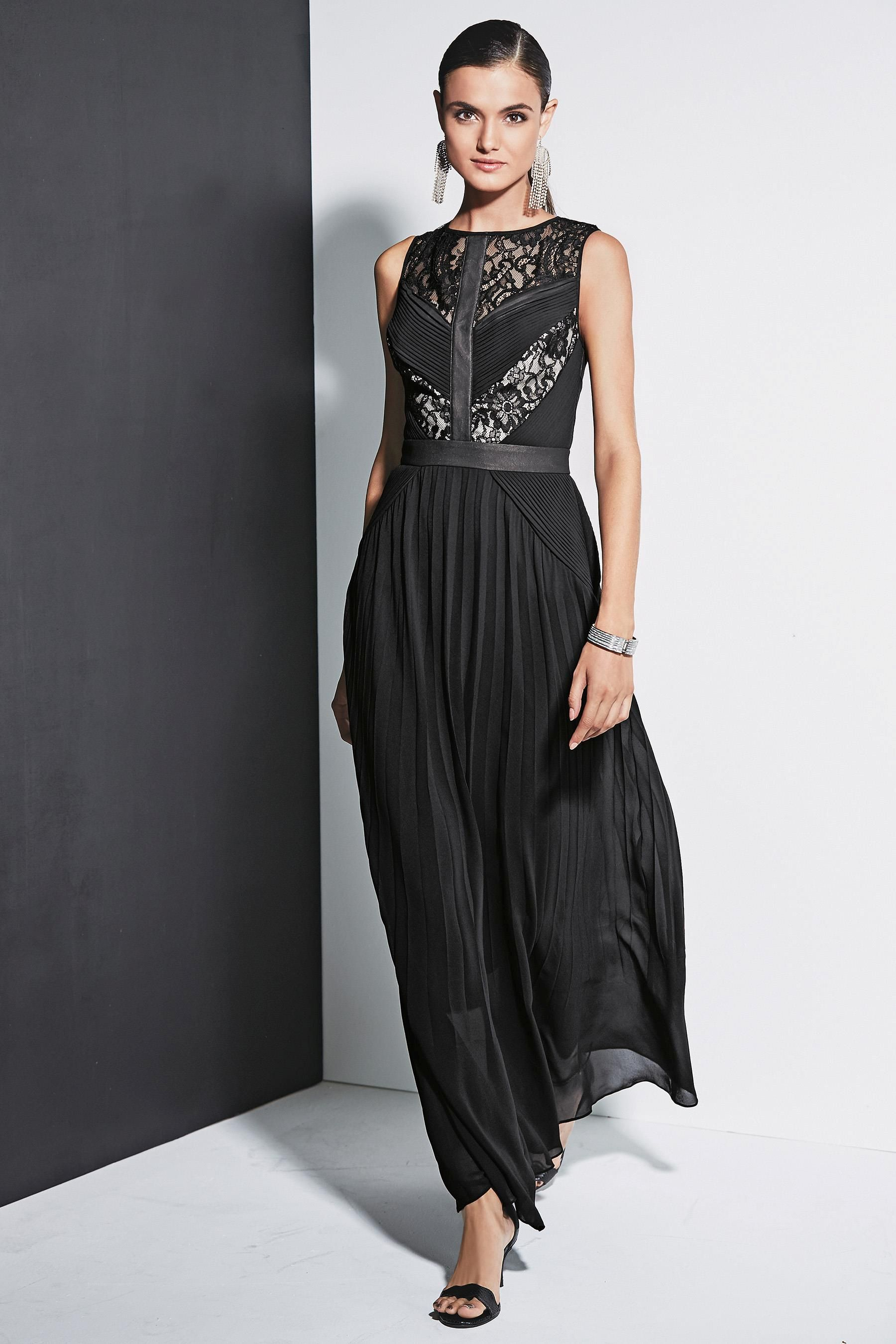 Buy black lace pleat maxi dress from the next uk online shop style