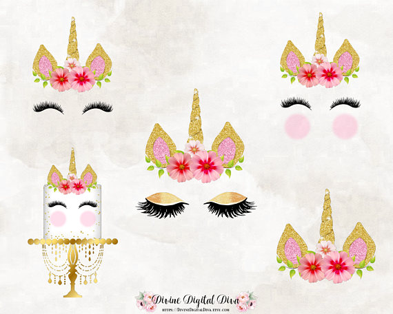 Unicorn Horn Face Eyelashes Flowers Cake Pink   Gold  6f54d02a3fc
