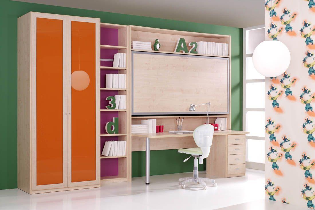 R87 juvenil con cama alta abatible mesa de estudio y for Armarios juveniles baratos en barcelona