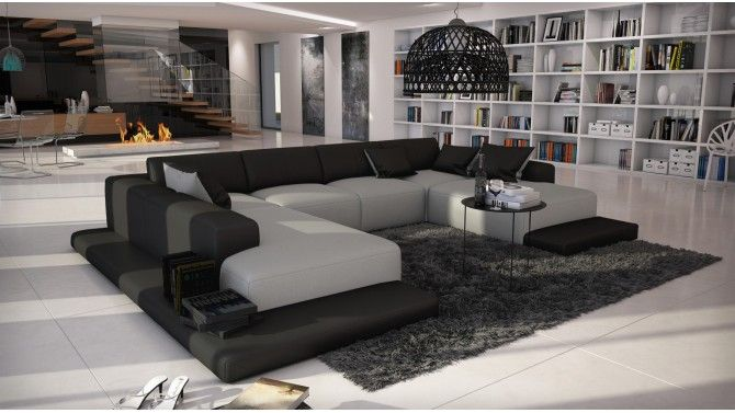 Canapé d\'angle simili cuir gris et noir - Kherson | Canapés ...