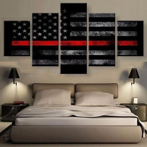 5 Panel American Flag Red Line Canvas $51.48 CAD | 5 panel | Pinterest