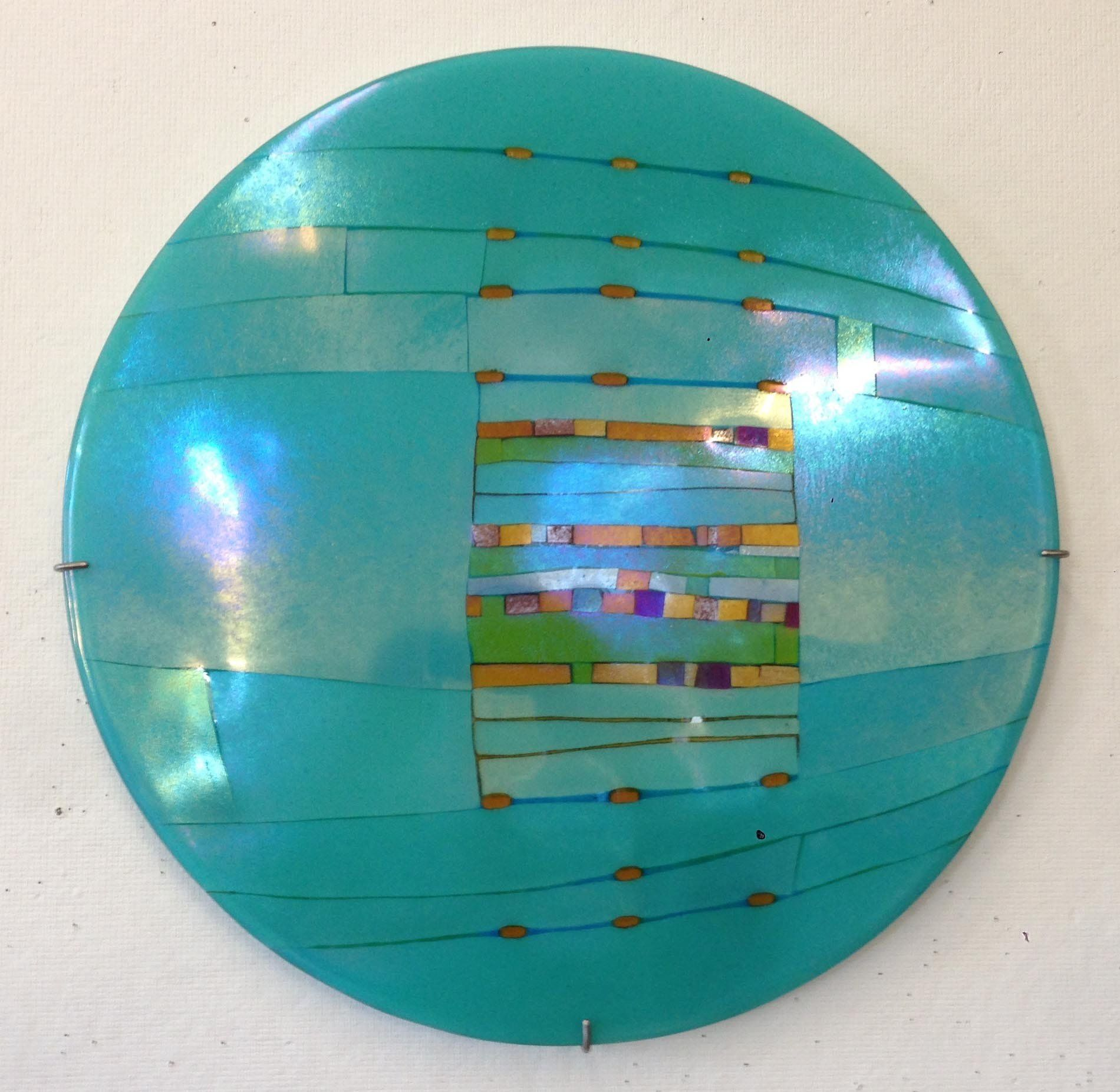 Aqua window round by lynn latimer art glass wall sculpture