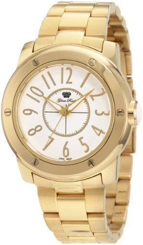 Glam Rock Women's GR50010 Aqua Rock White Dial Gold Ion-Plated Stainless Steel Watch Glam Rock. $172.50. Mineral crystal; brushed and polished gold ion-plated stainless steel case, cover and bracelet. Gold tone second hand. Water-resistant to 100 m (330 feet). Swiss quartz movement. White dial with gold tone hands and arabic numerals; luminous; white cabochon on crown