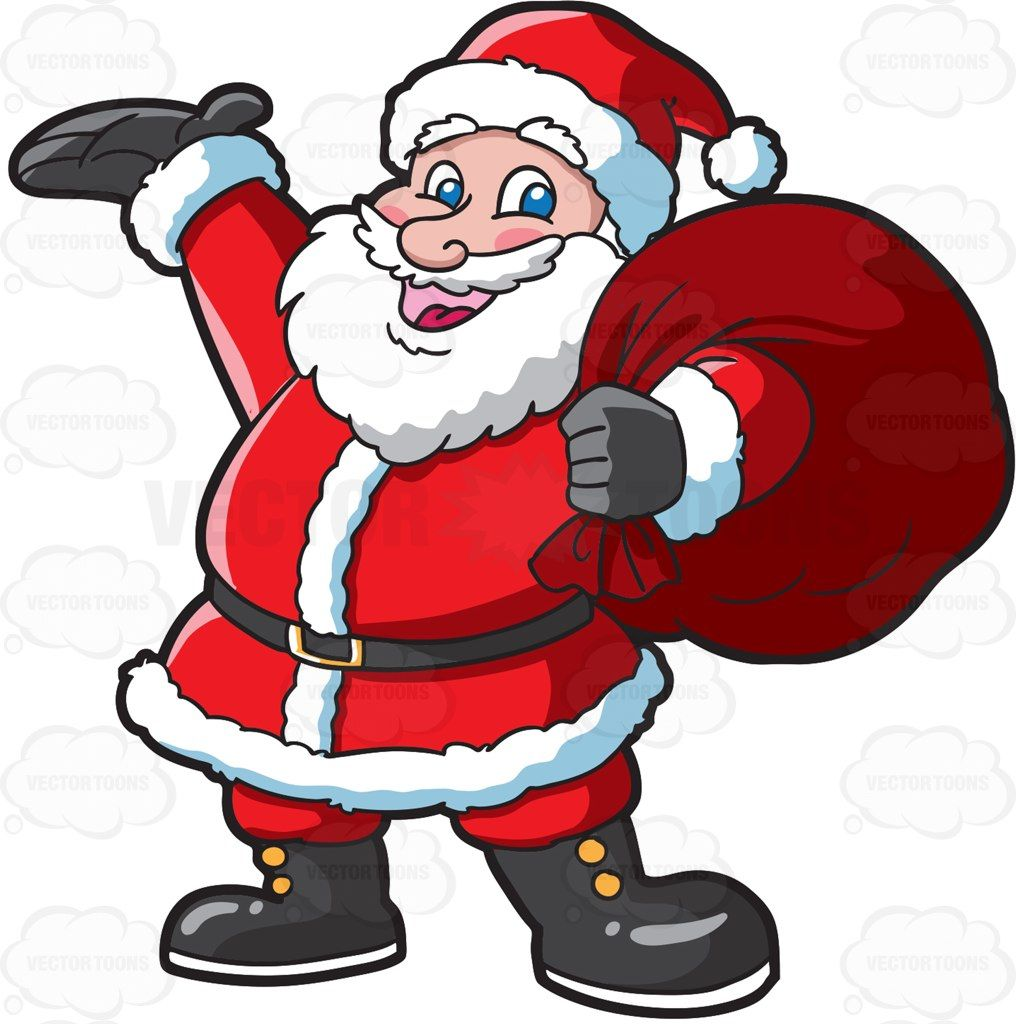 Santa Clause carrying a heavy bag cartoon clipart